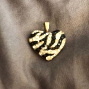 Jewelry - Black & white crystal heart charm.